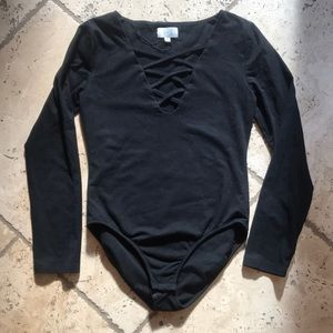 LF (L&T) Black Long Sleeve Lace-Up Bodysuit